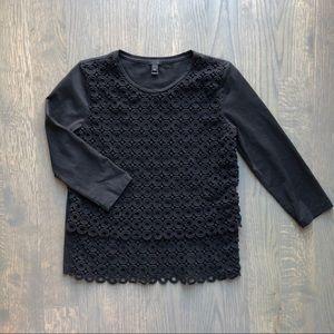 J. Crew Black Crocheted 3/4 Sleeve Top